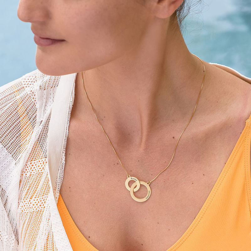 Engraved Eternity Circles Necklace in Gold Plating - 2