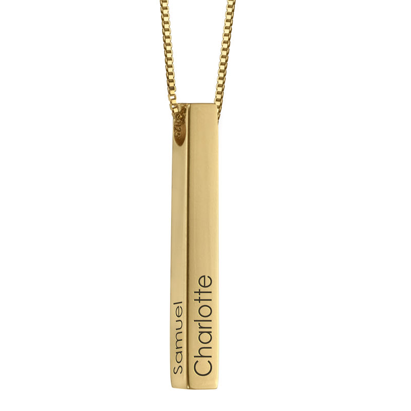 Engraved 3D Bar Necklace in Gold  Plating