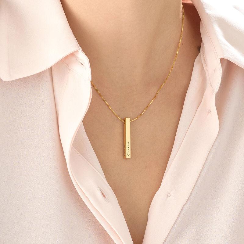 Engraved 3D Bar Necklace in Gold Vermeil - 3