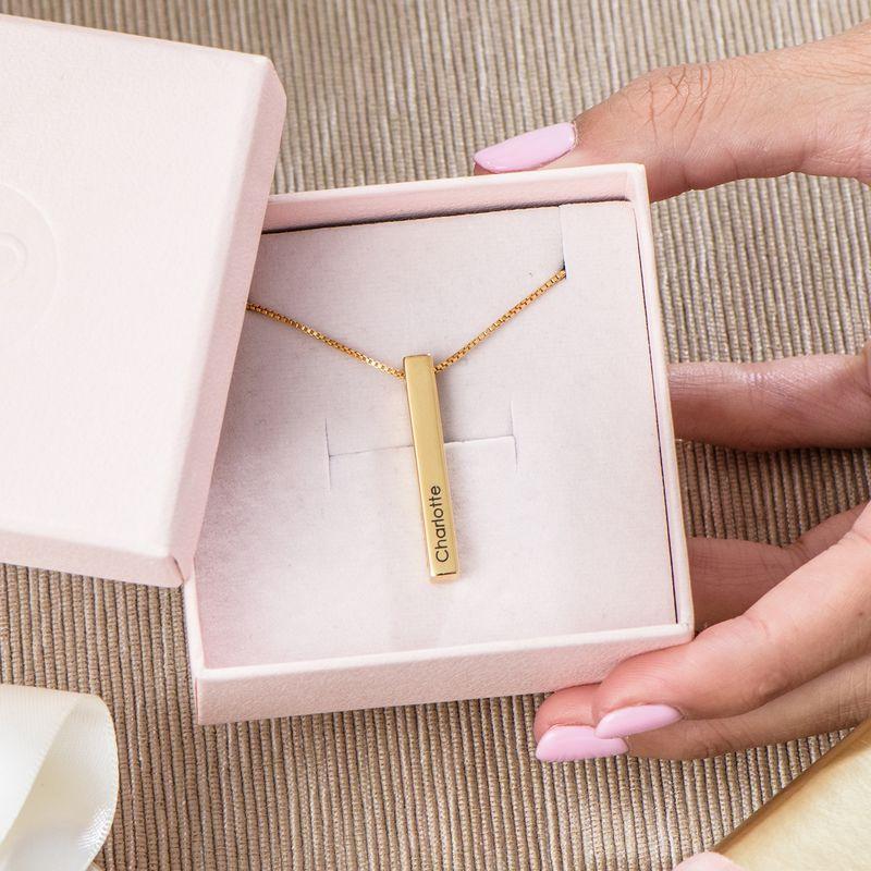 Engraved 3D Bar Necklace in Gold Vermeil - 4