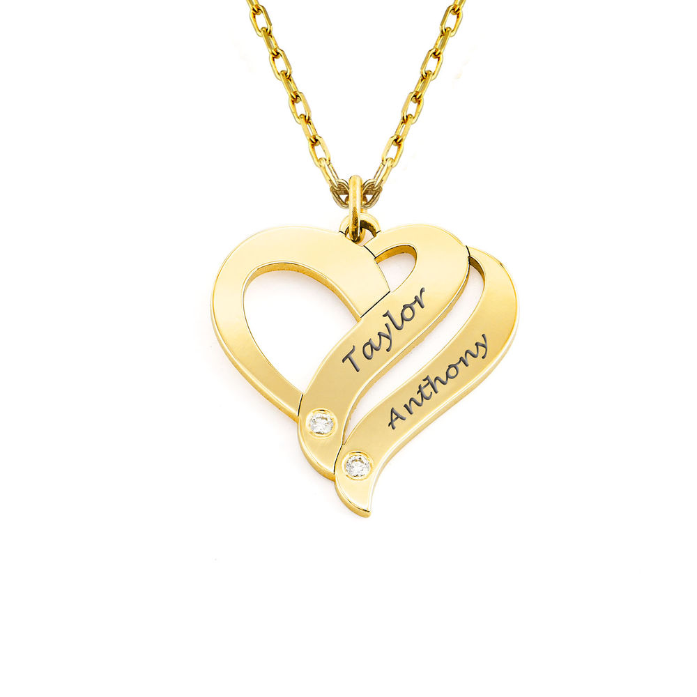 Two Hearts Forever One 10K Yellow Necklace with Diamond