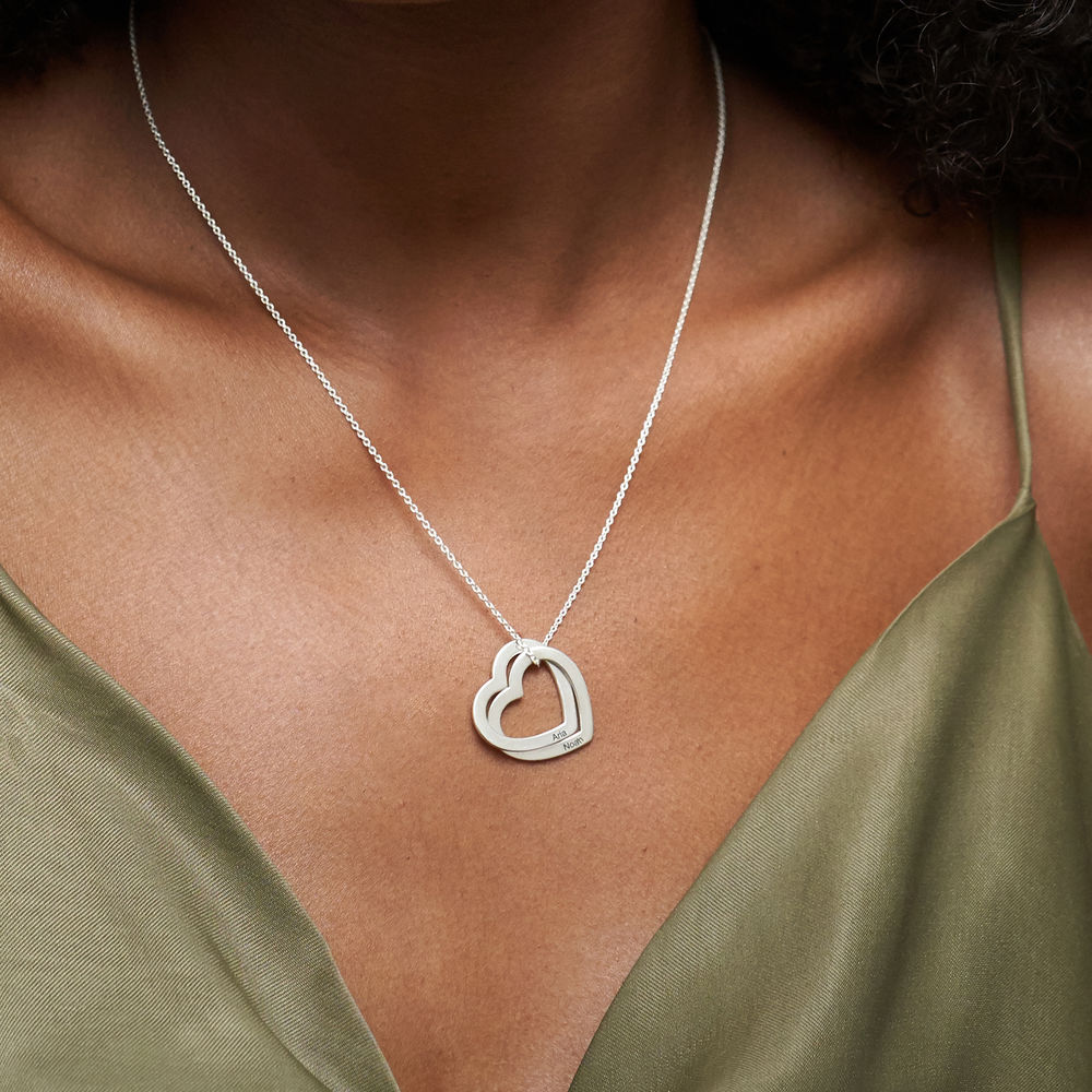 Interlocking Hearts Necklace in Sterling Silver - 3