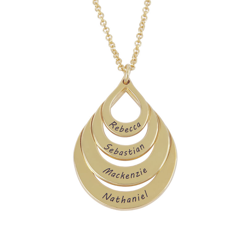 Gold Vermeil Engraved Family Necklace - Four Drops