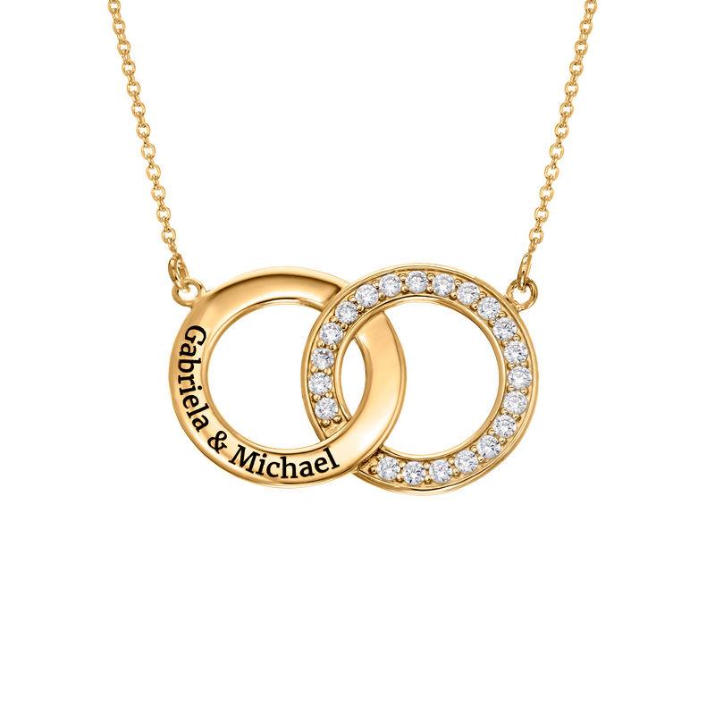Cubic Zirconia Interlocking Circle Necklaces in Gold Plating