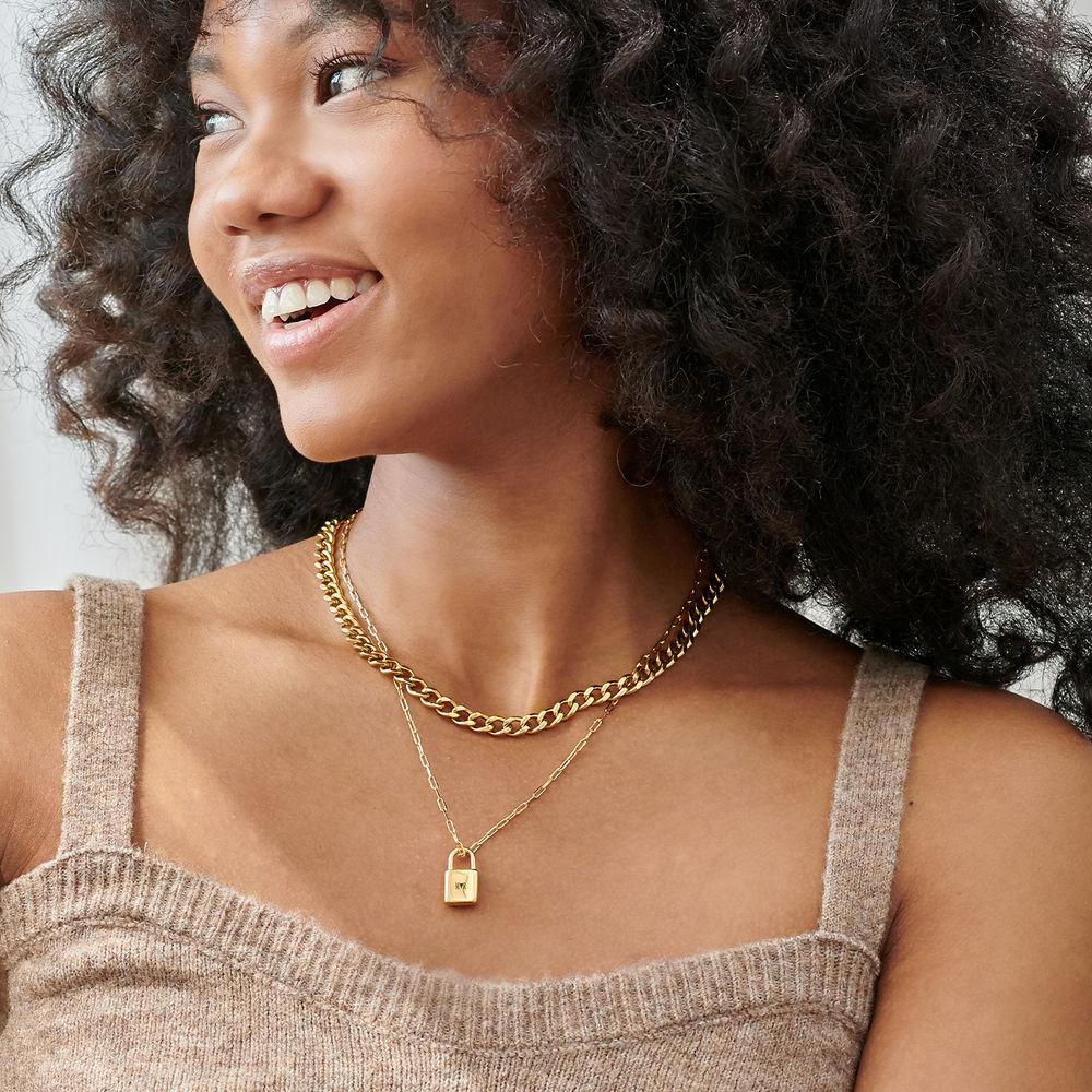 Allie Padlock Link Necklace in Gold Plating - 3