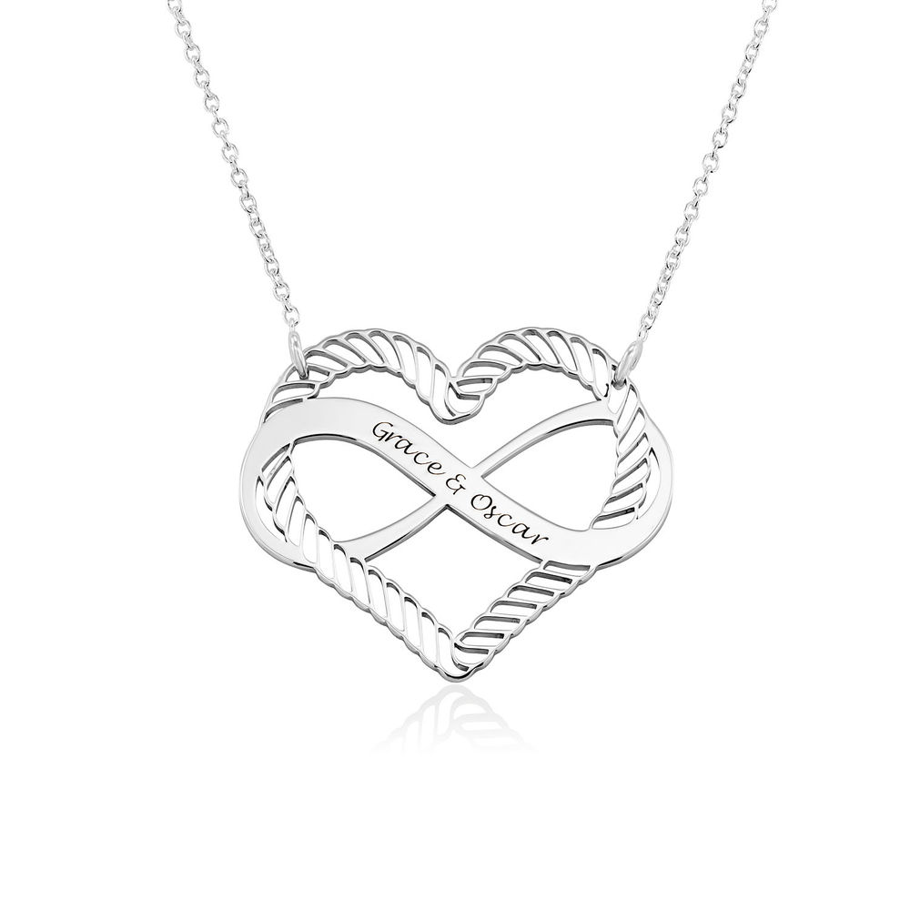 Engraved Heart Infinity Necklace in Sterling Silver