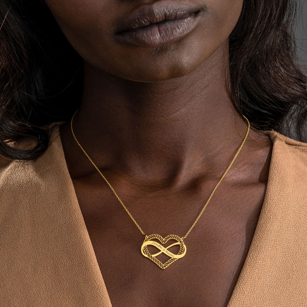 Engraved Heart Infinity Necklace in Gold Plating - 2