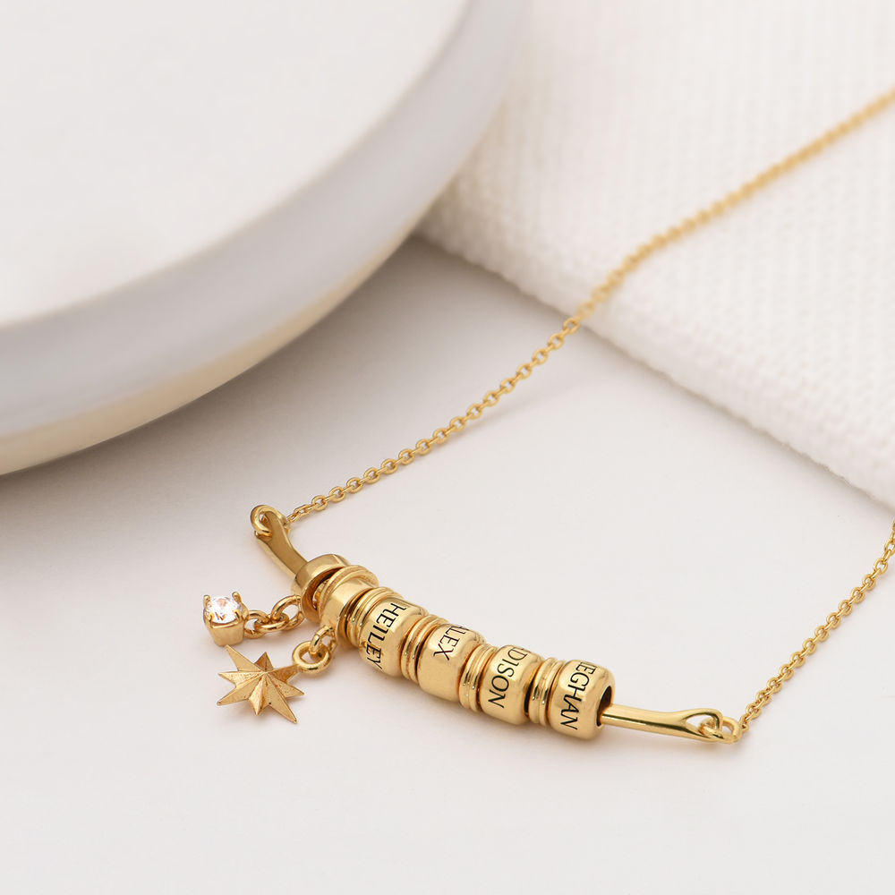 North Star Smile Bar Necklace with Diamond in Gold Plating - 1