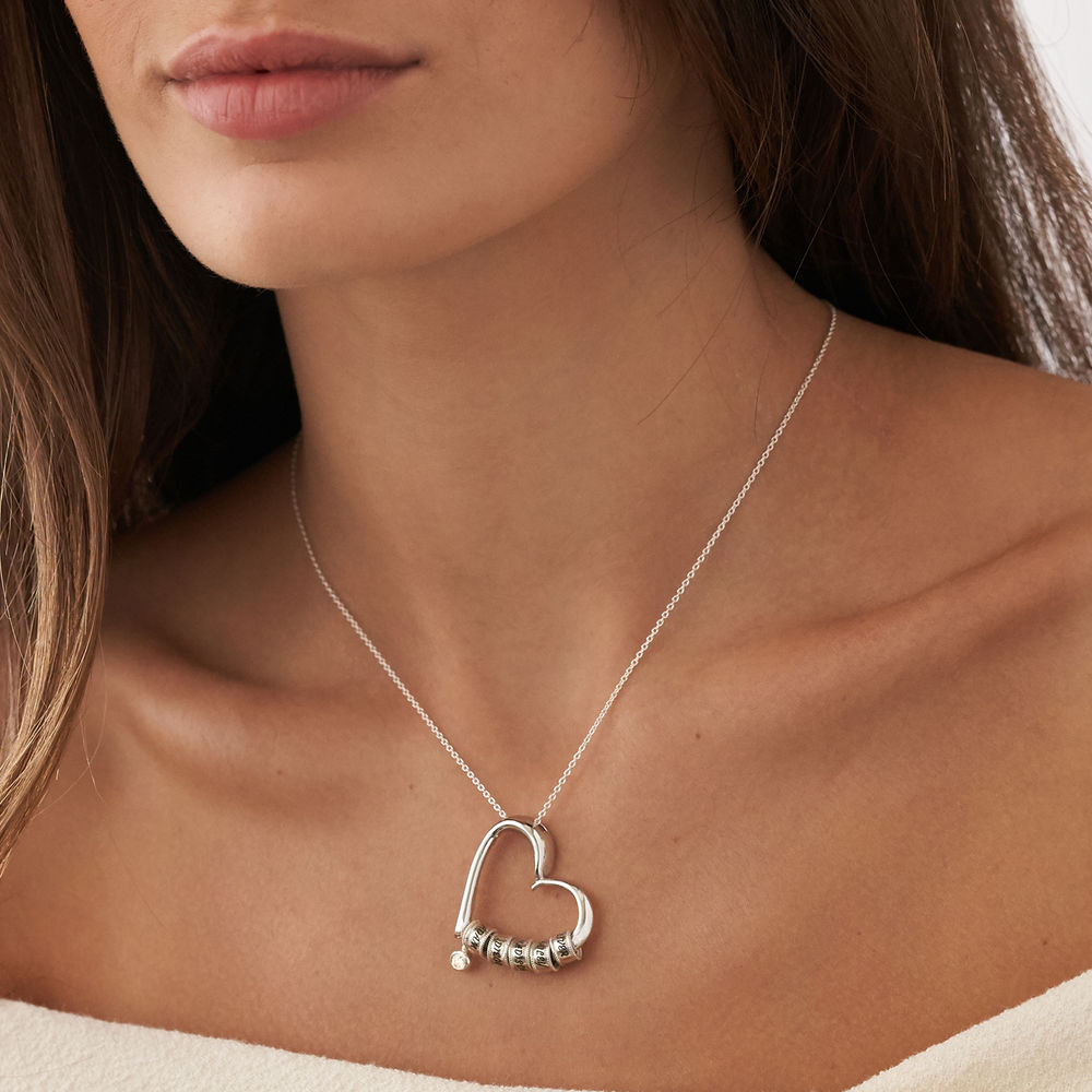 Sweetheart Necklace with Engraved Beads & Diamond in Sterling Silver - 3