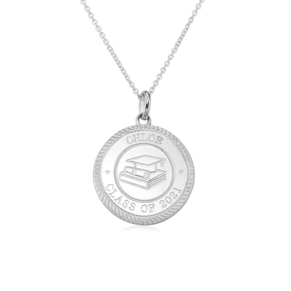Graduation Cap Personalised Necklace in Sterling Silver