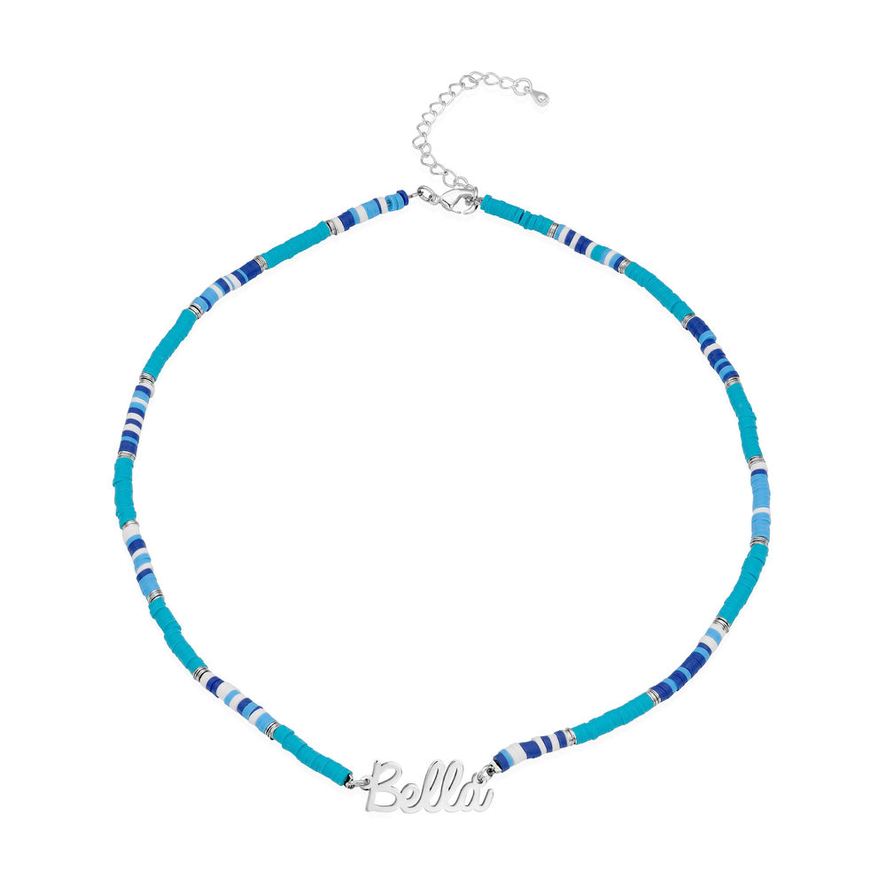 Blue Bead Name Necklace in Sterling Silver - 1