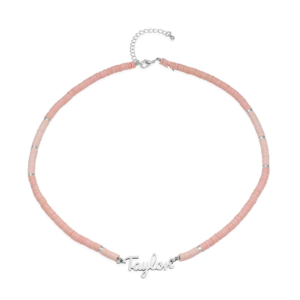 Nude Bead Name Necklace in Sterling Silver - 1