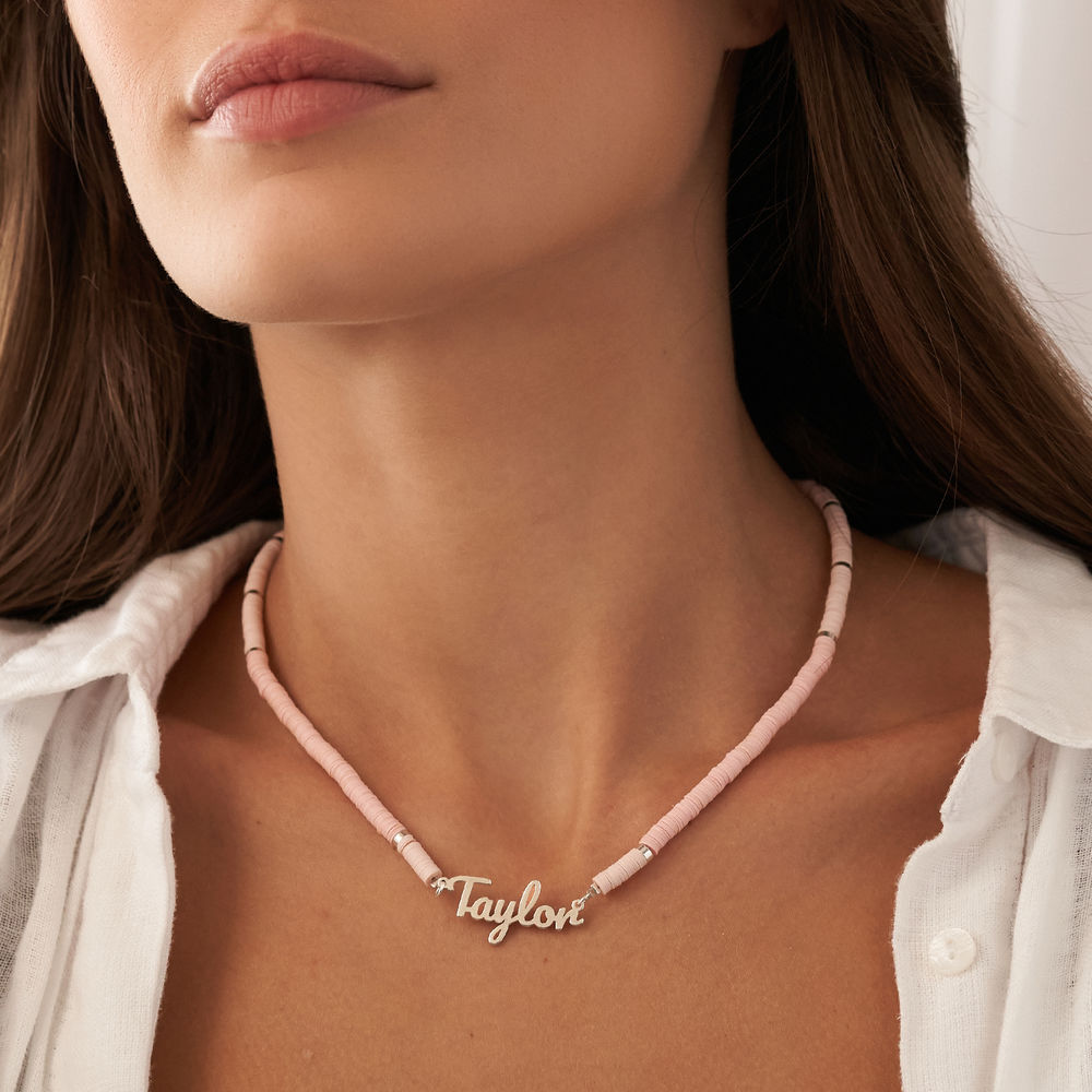 Nude Bead Name Necklace in Sterling Silver - 3