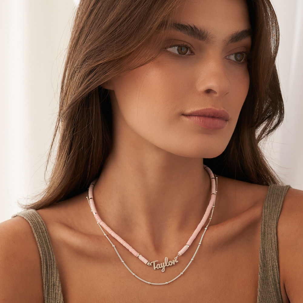 Nude Bead Name Necklace in Sterling Silver - 5
