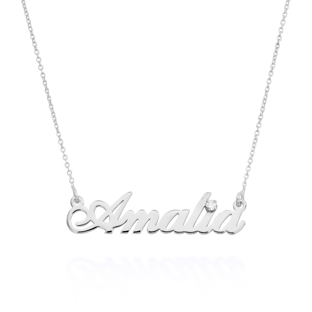 Small Classic Name Necklace with 5 Points Carats Diamond  in Sterling Silver