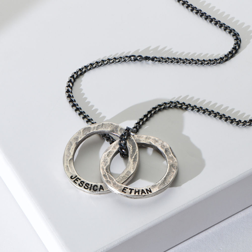 Russian Ring Necklace for Men in Silver Oxide - 1