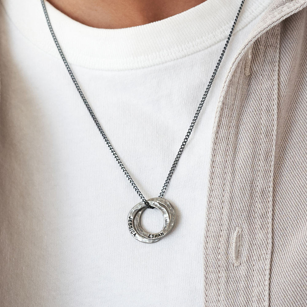 Russian Ring Necklace for Men in Silver Oxide - 2