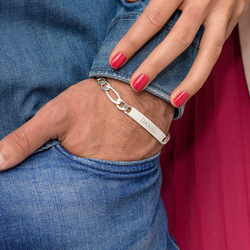 Sterling Silver Men's ID Name Bracelet - 6