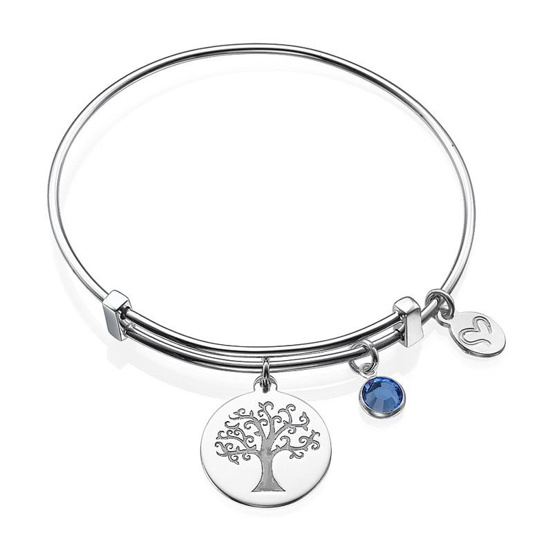 Bangle Bracelet with a Family Tree Charm