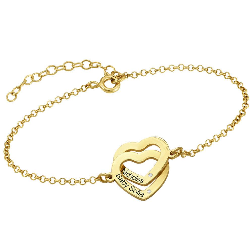Diamond Interlocking Adjustable Hearts Bracelet in Gold Plated