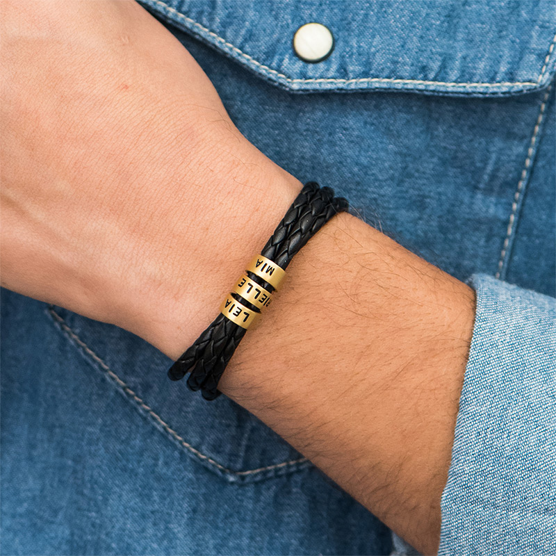 Men Braided Leather Bracelet with Small Custom Beads in Gold Plating - 2