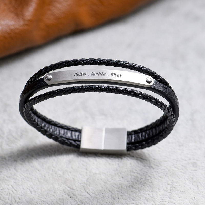 Stacked Black Leather Bracelets with an Engraved Bar - 5