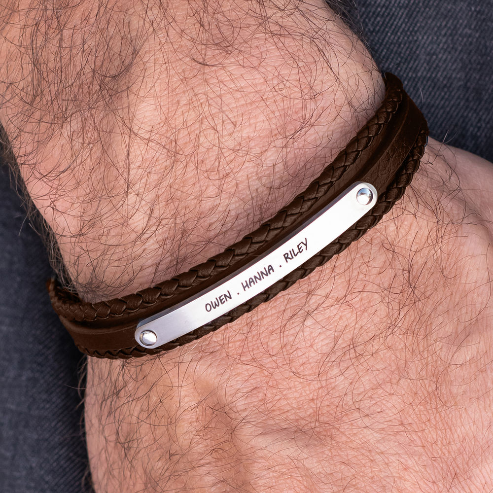 Stacked Brown Leather Bracelets with an Engraved Bar - 3