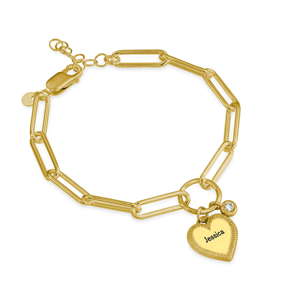 Heart Pendant Link Bracelet with Diamond in Gold Plating