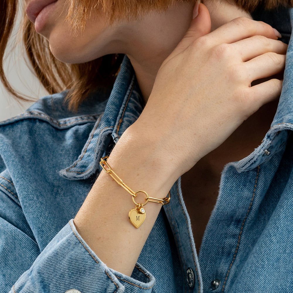 Heart Pendant Link Bracelet with Diamond in Gold Plating - 2