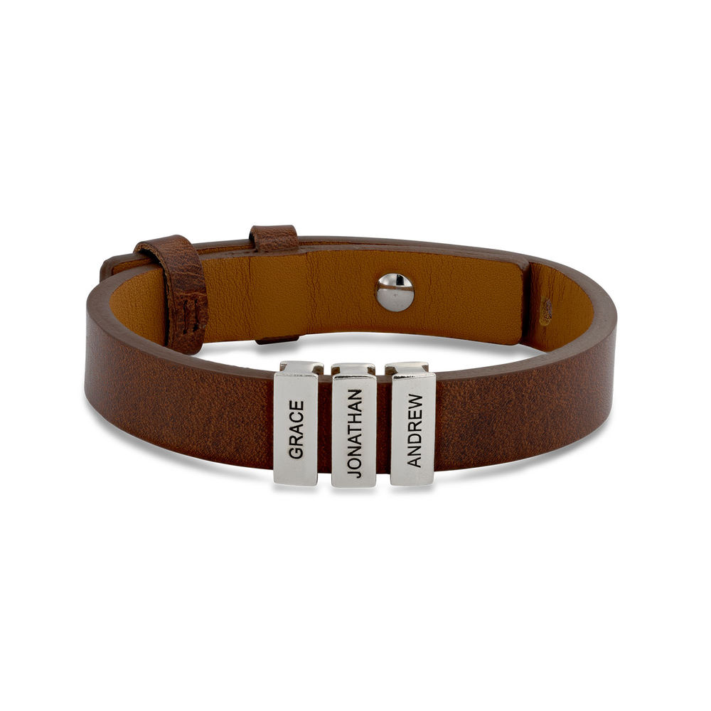Mens Brown Leather Bracelet with Custom Silver Beads