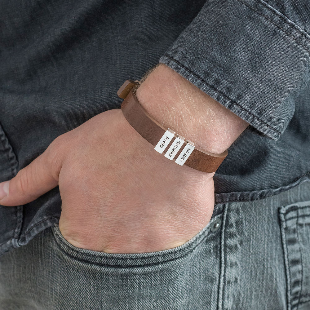 Mens Brown Leather Bracelet with Custom Silver Beads - 4