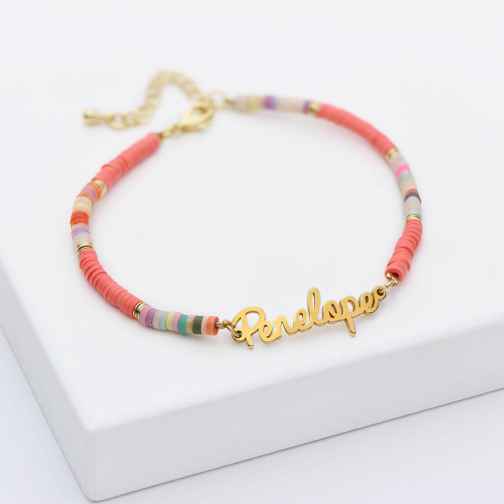 Gold Bead Name Bracelet in Gold Plating - 1