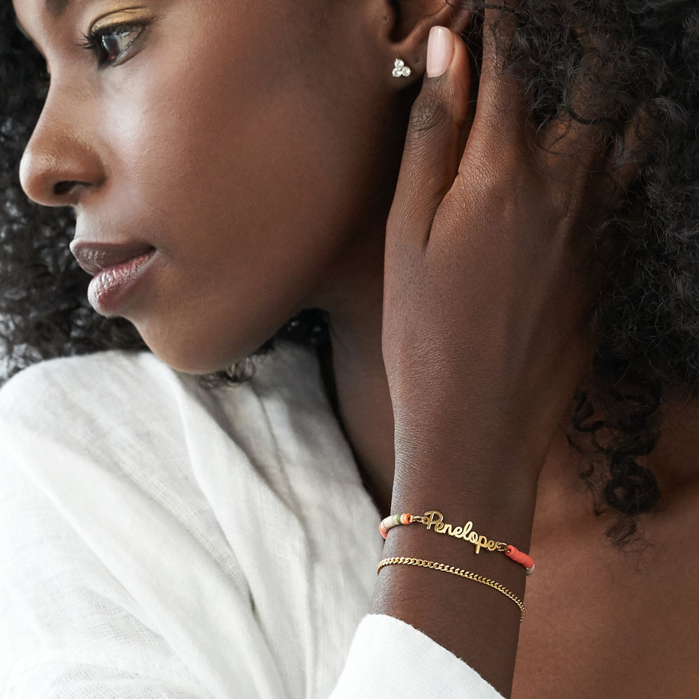 Gold Bead Name Bracelet in Gold Plating - 2