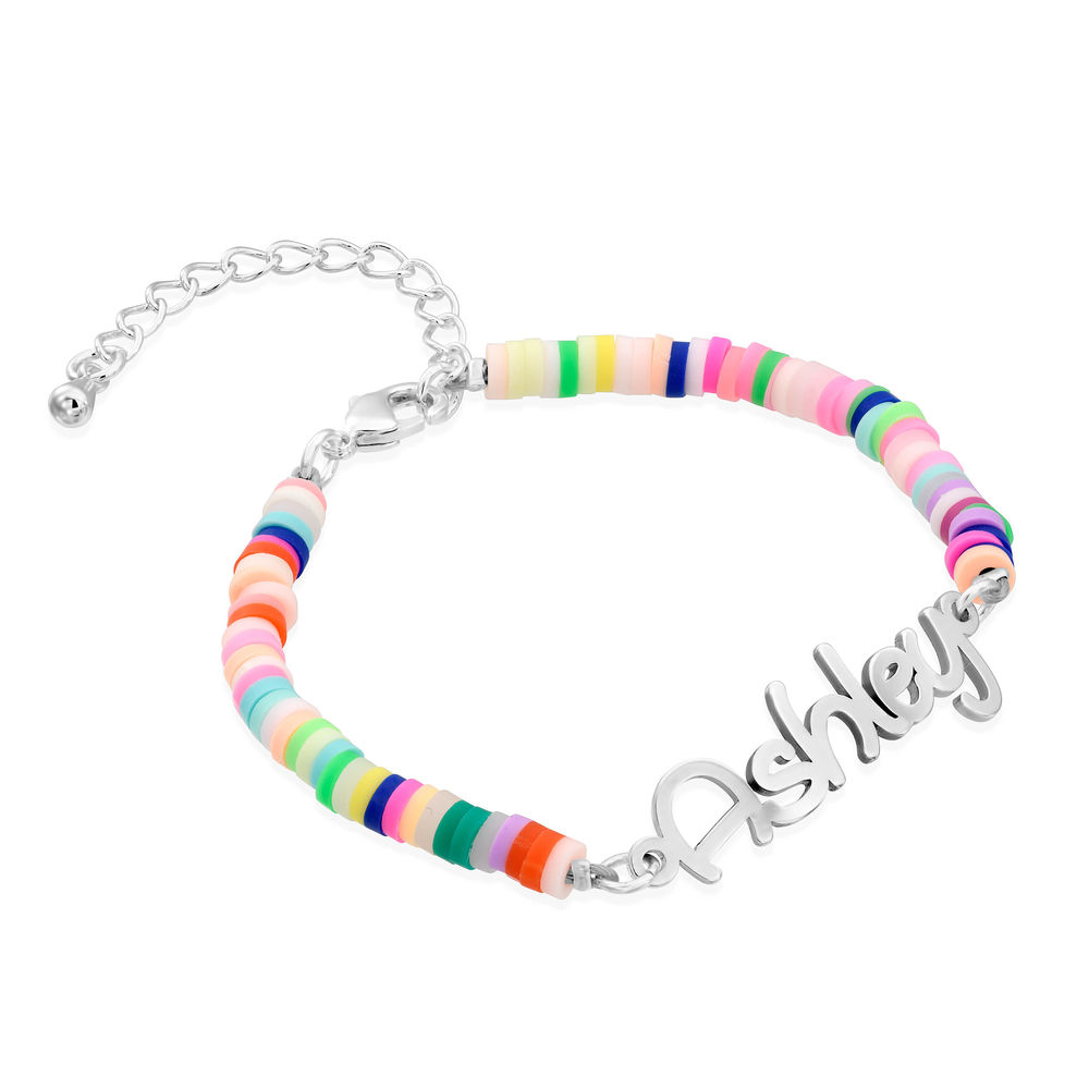 Rainbow Bead Girls Name Bracelet in Sterling Silver