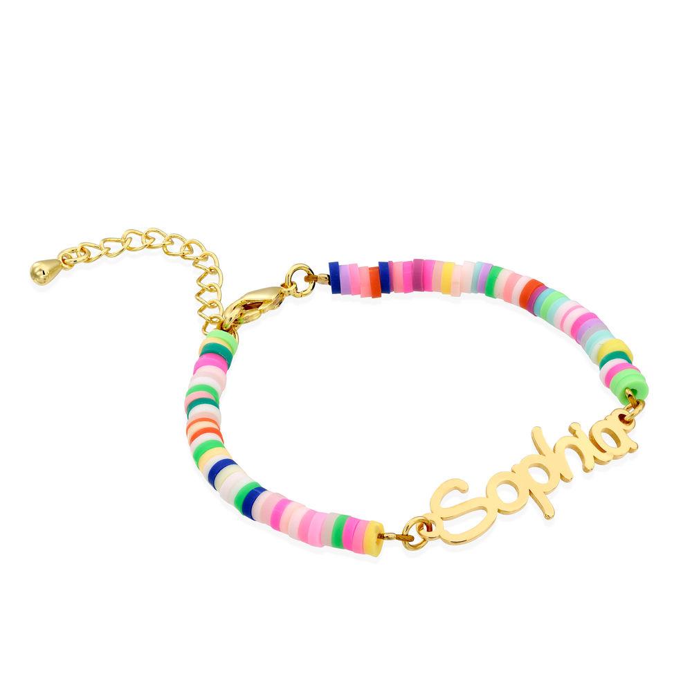Rainbow Bead Girls Name Bracelet in Gold Plating