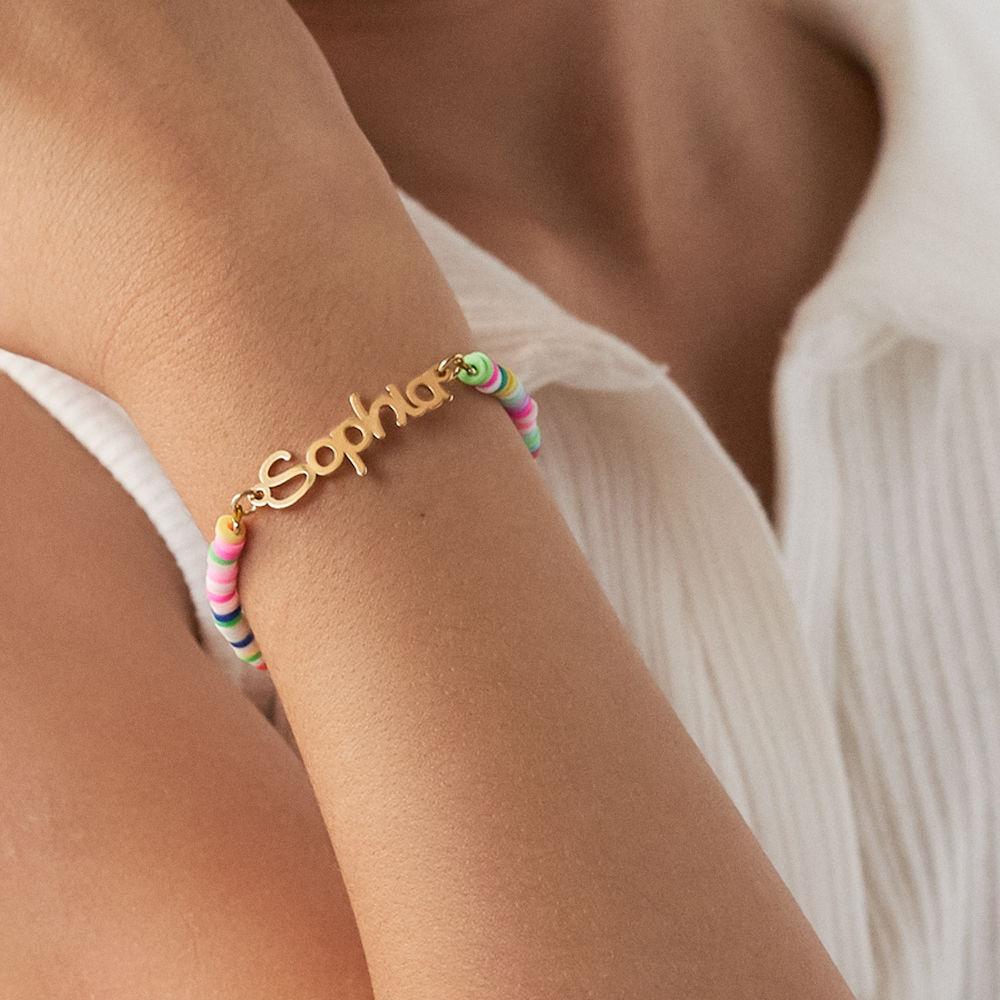 Rainbow Bead Girls Name Bracelet in Gold Plating - 2