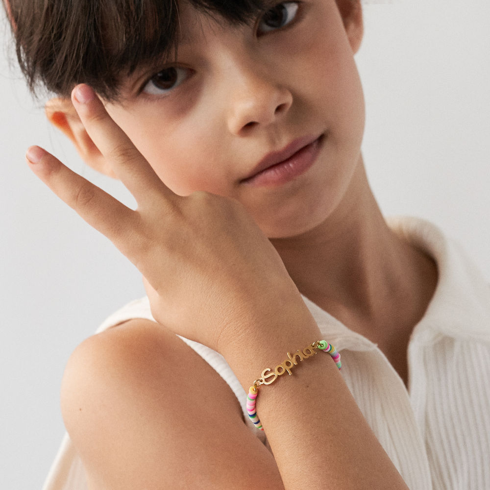 Rainbow Bead Girls Name Bracelet in Gold Plating - 3