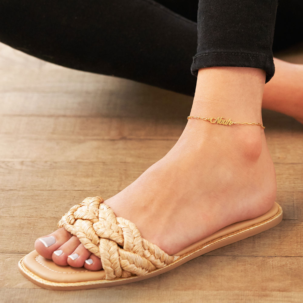 Costume Paperclip Name Bracelet/Anklet in Gold Plating - 3