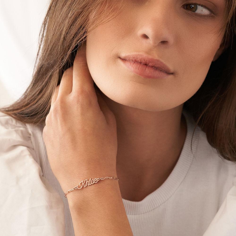 Costume Paperclip Name Bracelet/Anklet in Rose Gold Plating - 2