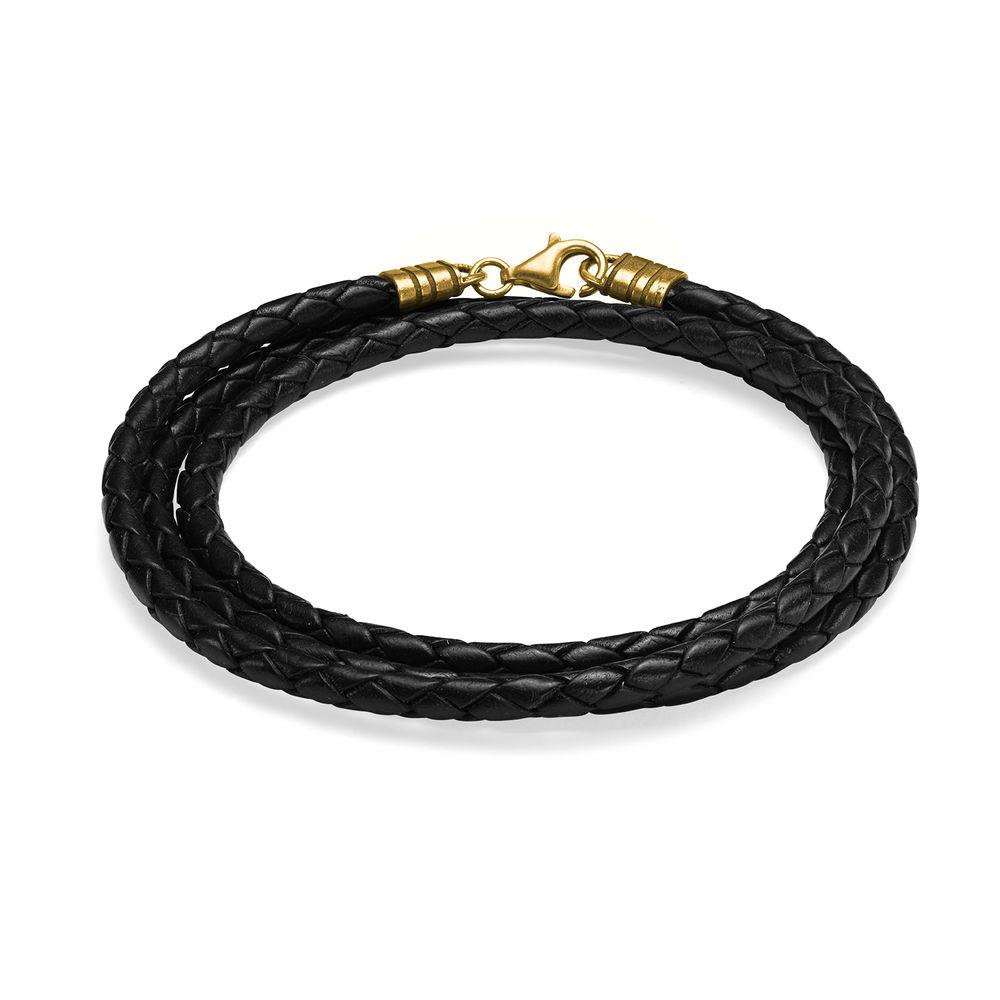 Braided Black Leather Bracelet in Gold Plating