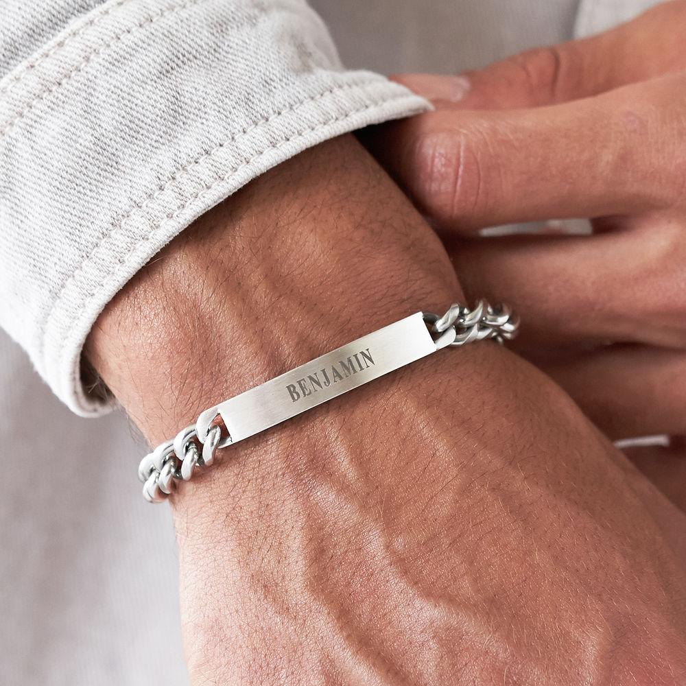 Men's Curb Chain ID Bracelet in Matte Sterling Silver - 2