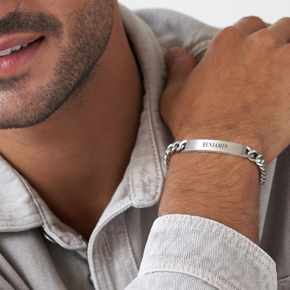 Men's Curb Chain ID Bracelet in Matte Sterling Silver - 3
