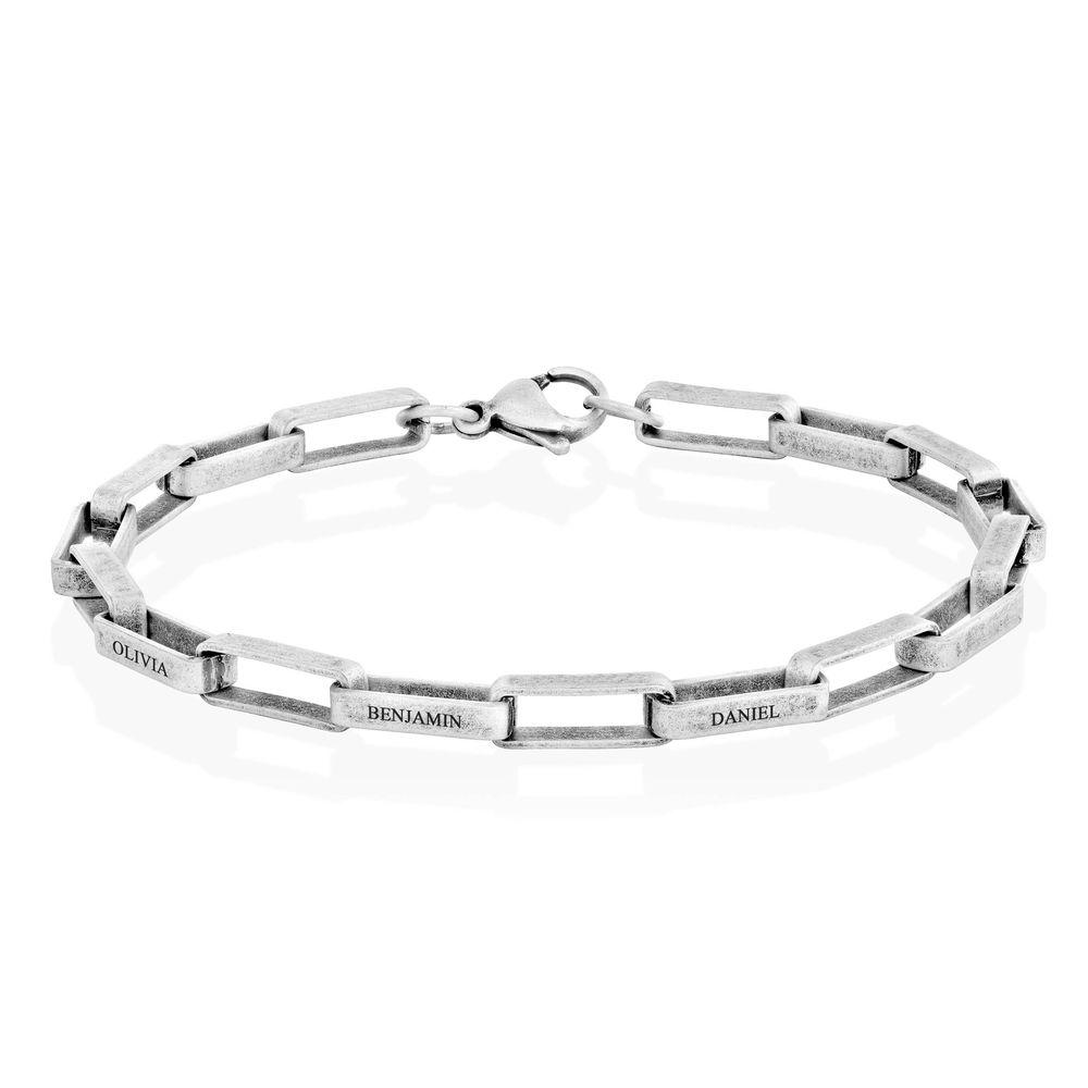 Custom Square Link Men Bracelet in Matte Silver
