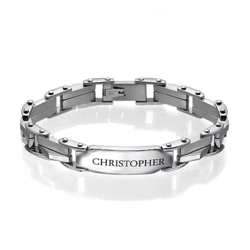 Men's Engraved Stainless Steel Bracelet