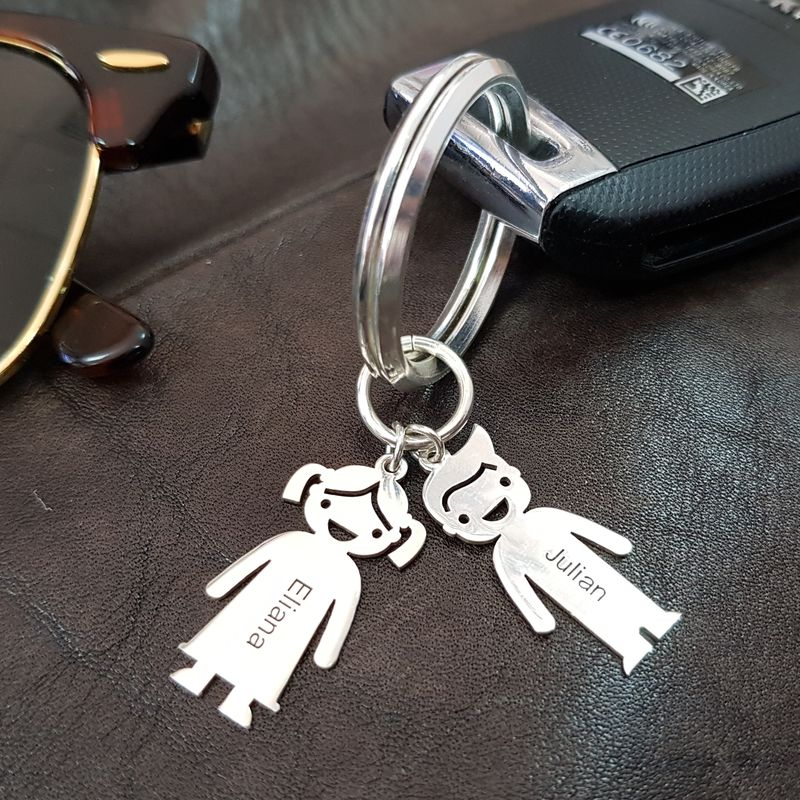 Personalised Keyring with Children Charms - 4
