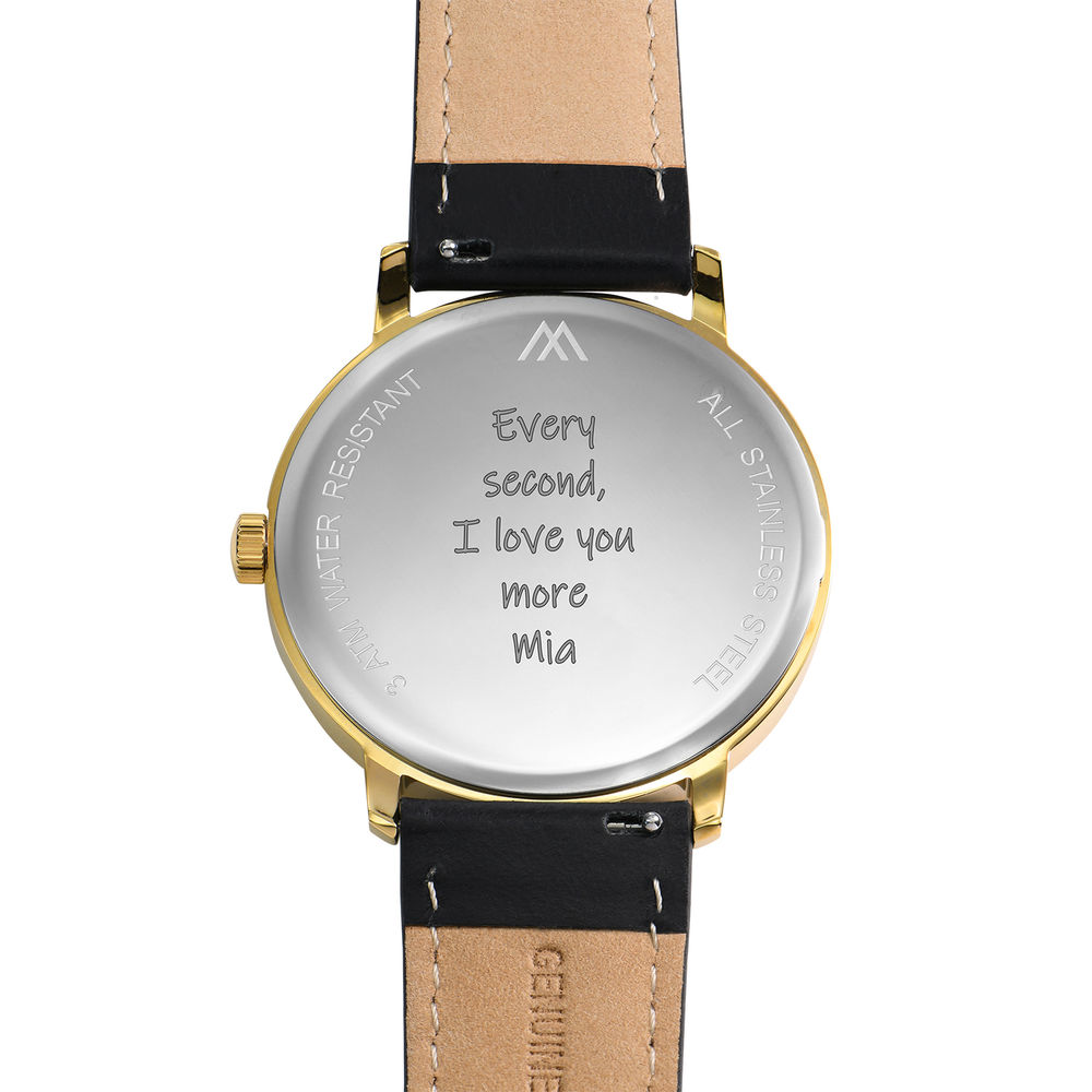 Hampton Engraved Minimalist Watch for Men with Black Leather Strap - 4