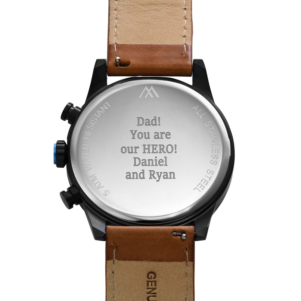 Quest Chronograph Leather Strap Watch for Men with Black Dial - 3