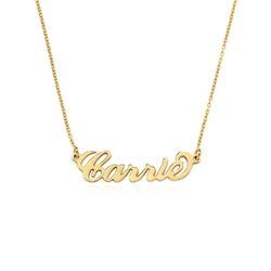Small 18ct Gold-Plated Silver Carrie Name Necklace product photo