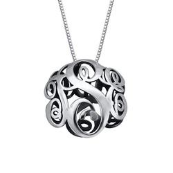 3D Silver Monogram Necklace product photo