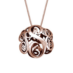 3D Monogram Necklace with Rose Gold Plating product photo